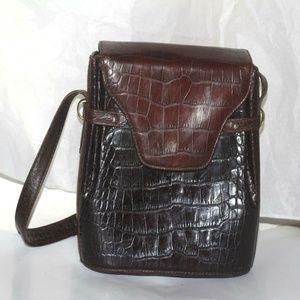 Vtg Bally  Women's shoulder Small Croco print bag